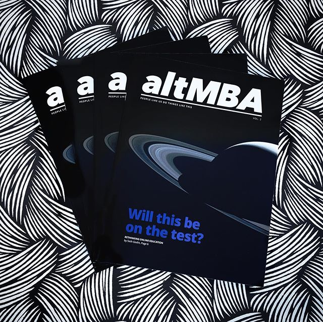 """""""The altMBA taught me that almost every good idea can be made better by asking a better question."""" - altMBA alumni, Kaci Lambe.  Seth Godin's visionary altMBA program is hopeful, ambitious, challenging, and life-giving! We were honored to be a part of the process by helping print this STUNNING brochure 💙 #altMBA #sethgodin #inspire #share #give #create"""