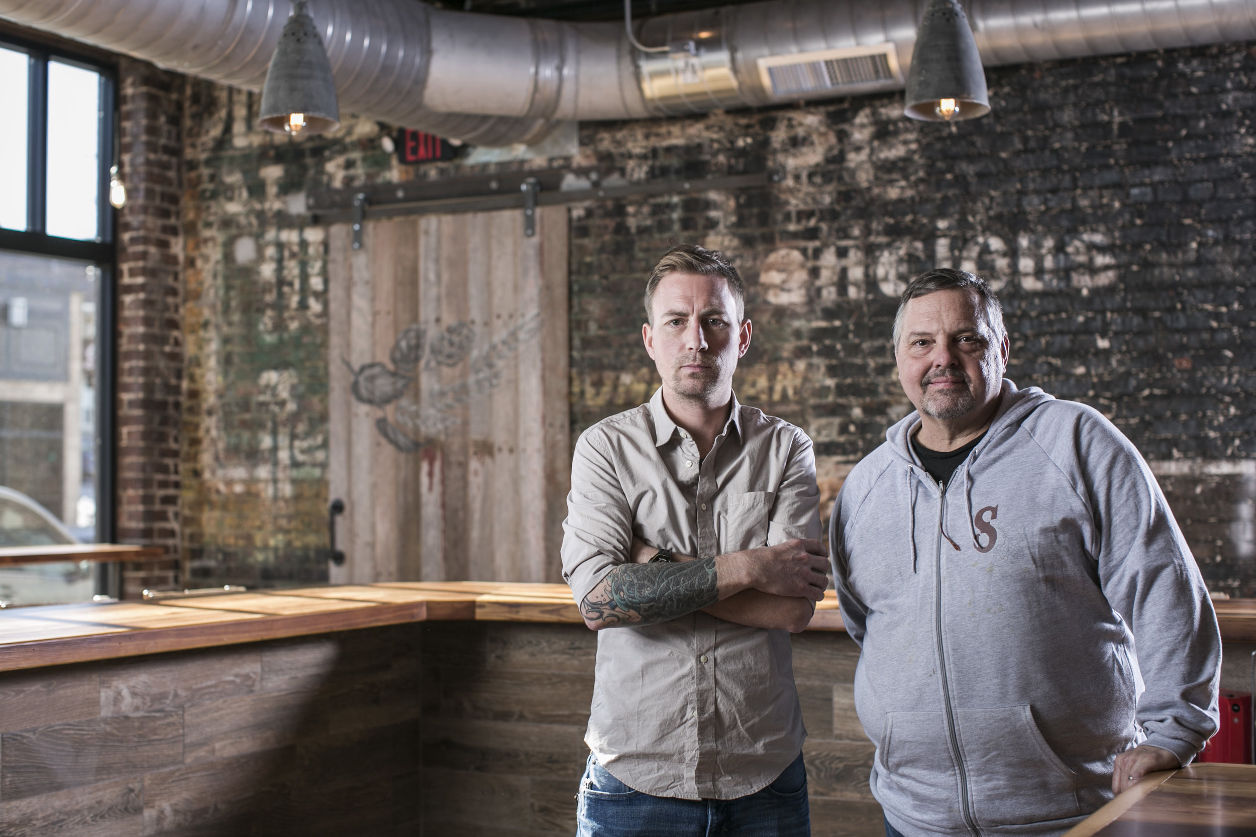 Scott Stephens, left, and John Fahrer, owners of Scriptown Brewing Company located at 3922 Farnam St, Omaha, NE 68131
