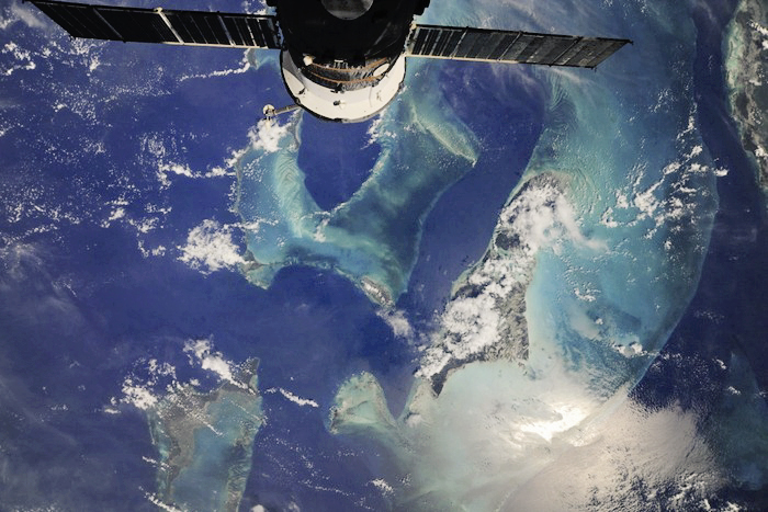 The view of Exuma Cays Islands of the Bahamas from the International Space Station