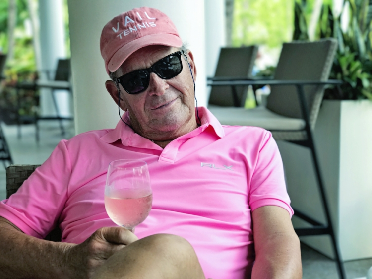 My Angel, Jeff, pretty in pink to honor Breast Cancer Awareness, enjoying @whisperingangel Rose' ... All he needs is one of my chocolate ganache cupcakes!