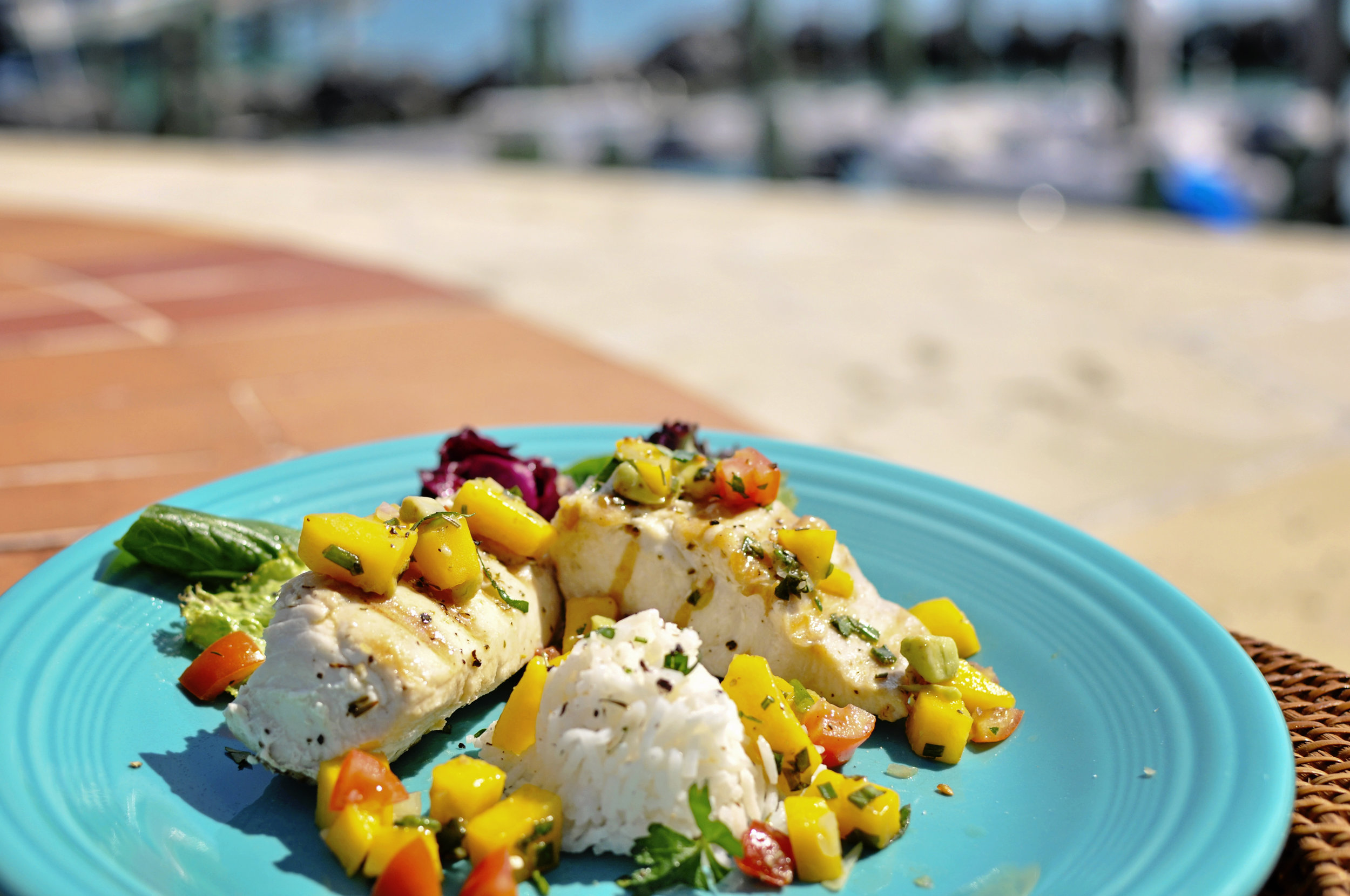Tropical Mango Mahi.  Click here  for the recipe!