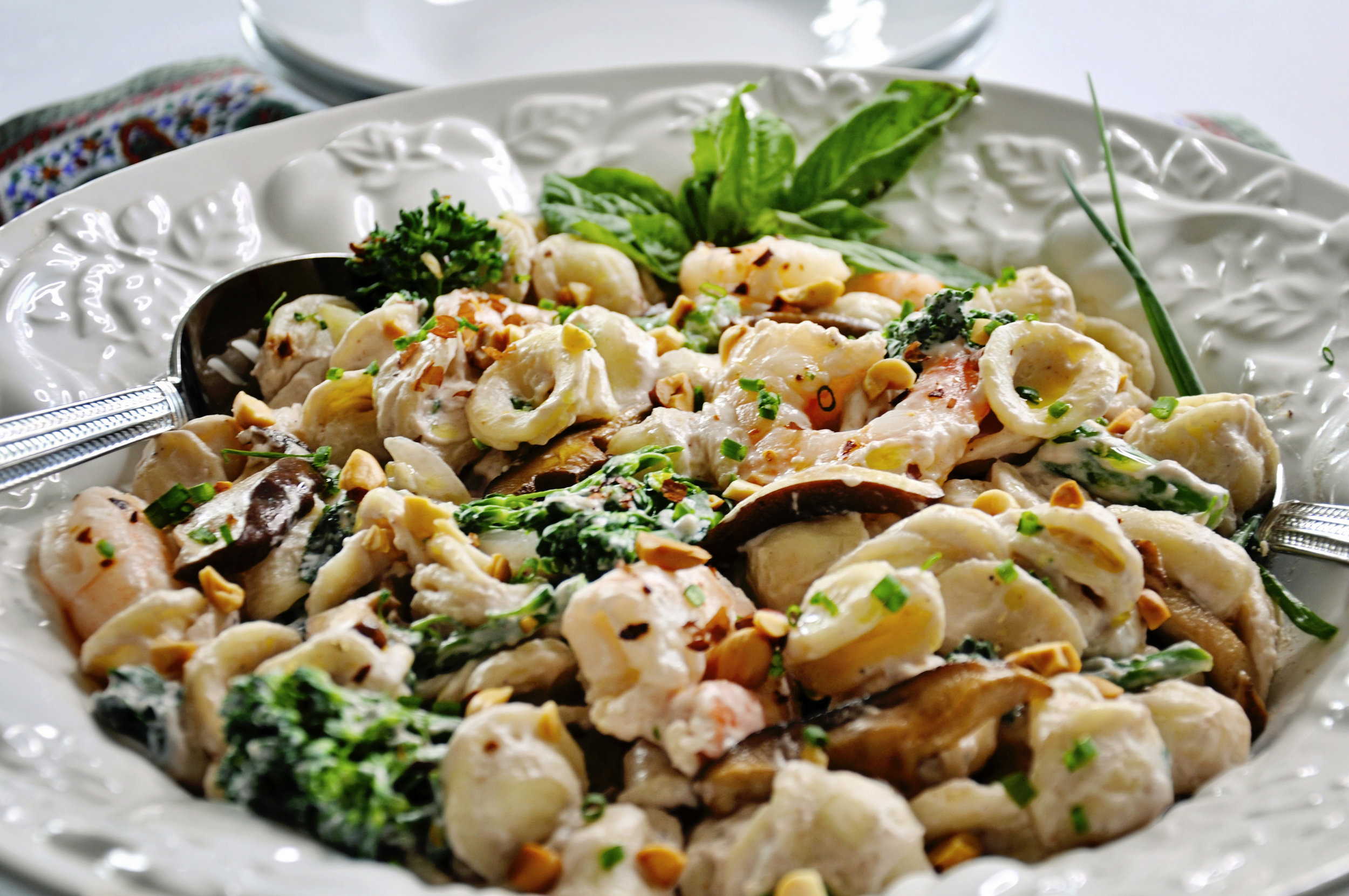 Orecchiette Peanut Sauce with Shrimp & Broccoli Rabe