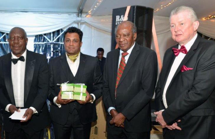 The Honourable Finance Minister, Alexander Chikwanda (2nd from right) with Lusaka Golf Club president, Raj Sharma (2nd from left) and other Lusaka Golf Club officials