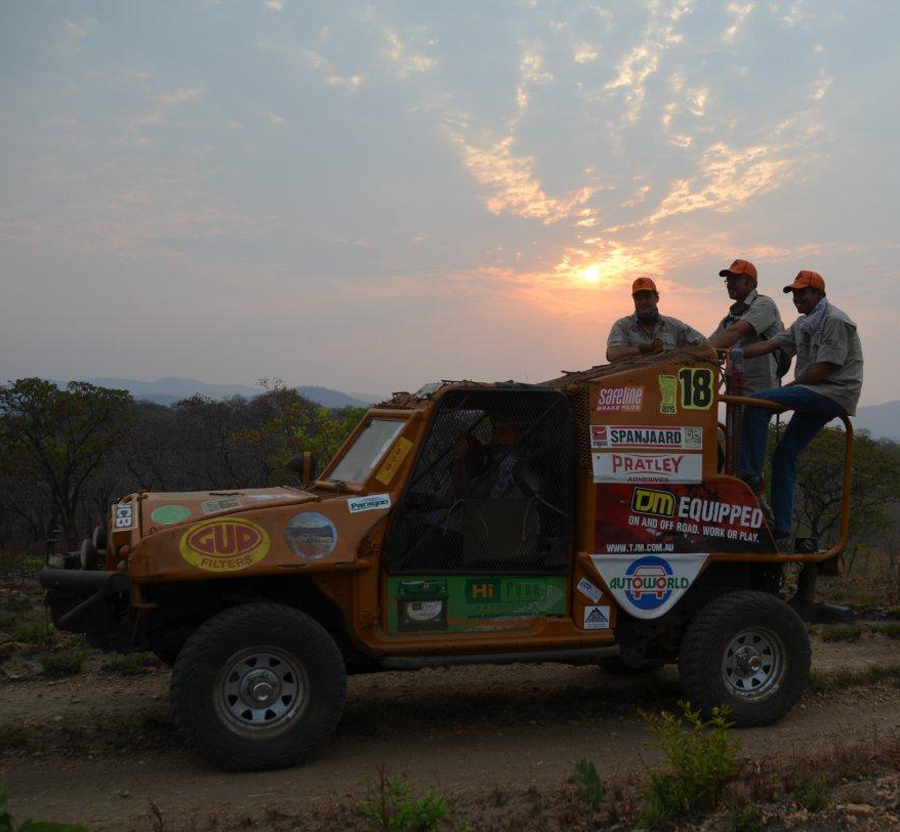 The Autoworld team making their way to the starting point at sunrise
