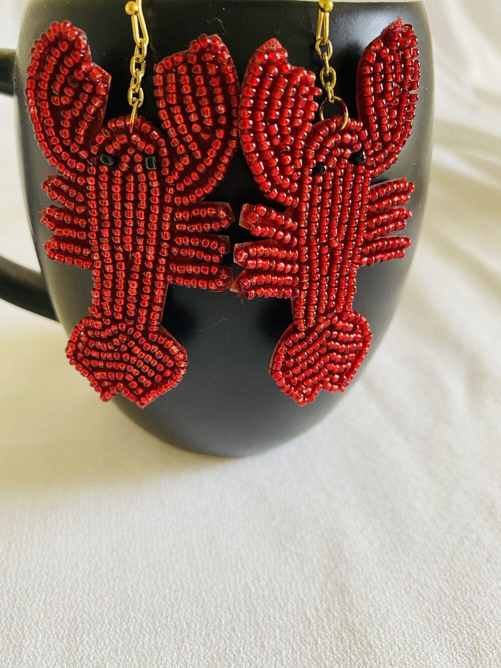 Southern Jewelry Cajun Jewelry Crystal Crawfish Earrings Louisiana Jewelry Crawfish Jewelry Crawfish Earrings