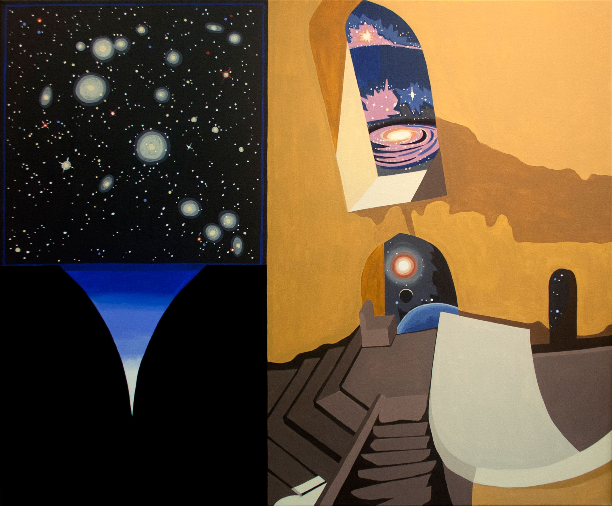 "Sightings through Windows, acrylic on canvas, 36"" x 44"", 2012"