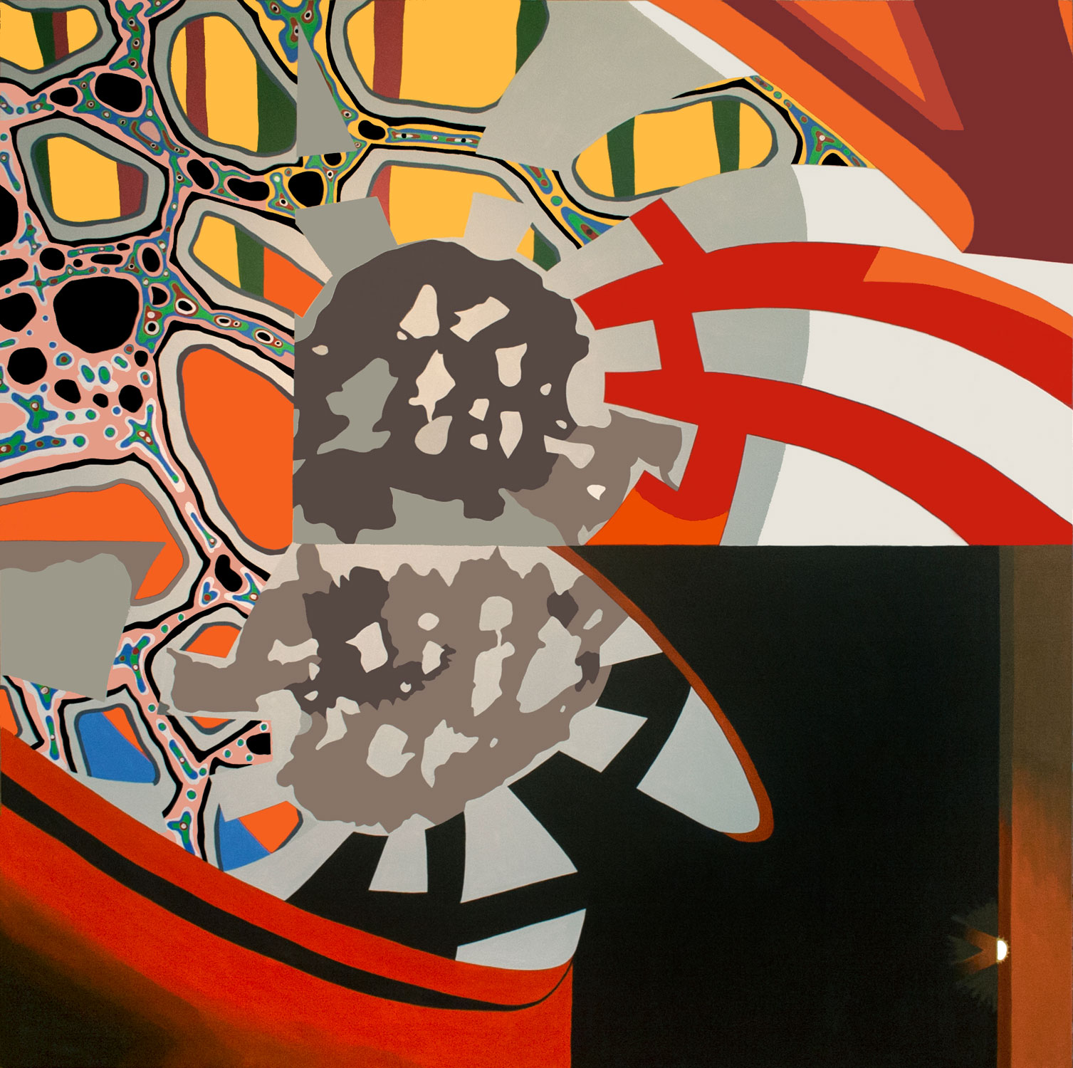 "Sunrise Over Swirling Yantras, acrylic on canvas, 72"" x 72"", 2012"