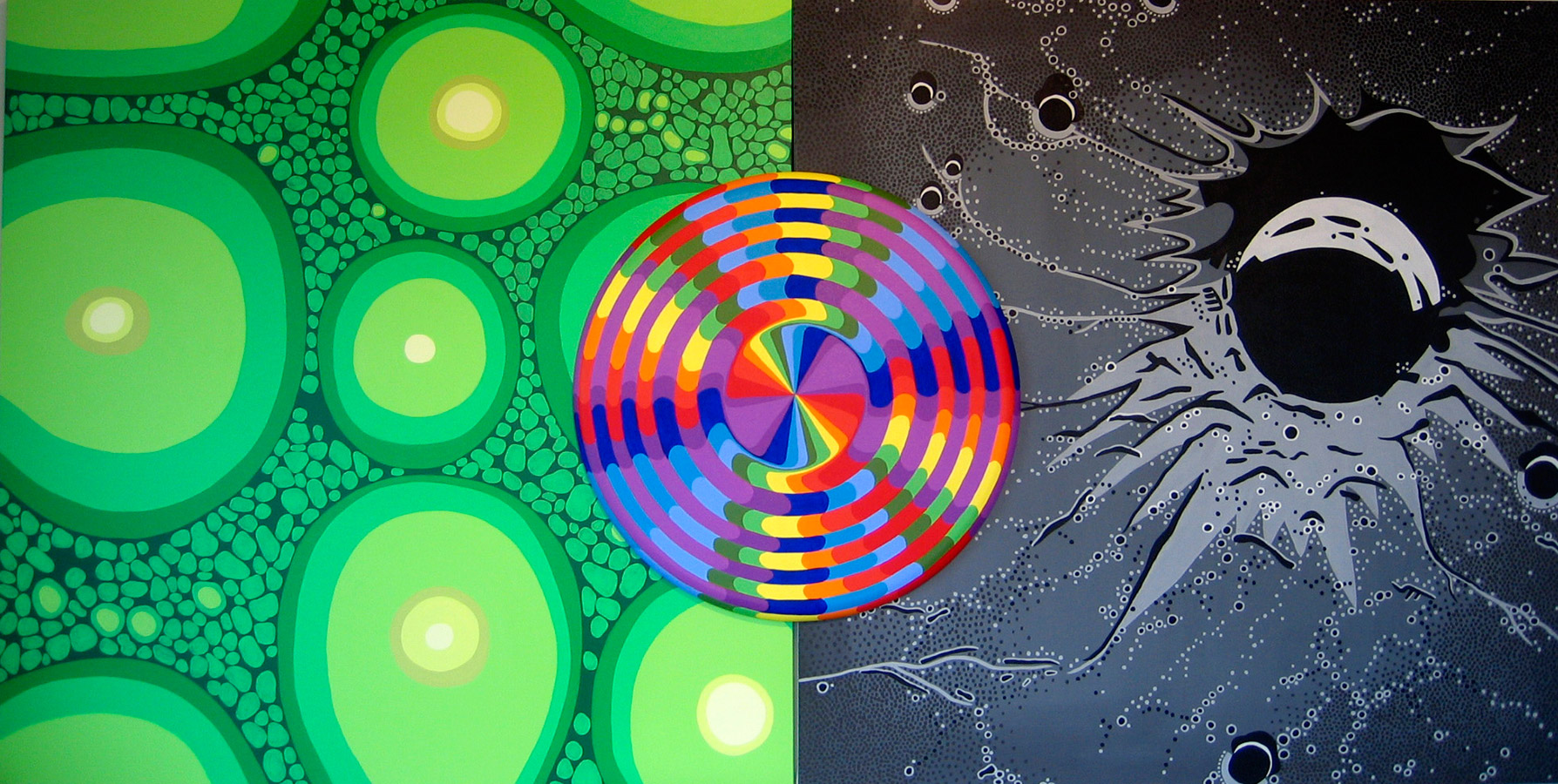 "Mandala in Nature, acrylic on canvas, 54"" x 108"", 2005"