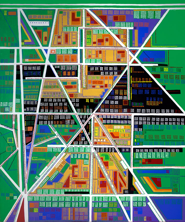 "City #1, acrylic on canvas, 72"" x 60"", 2003"