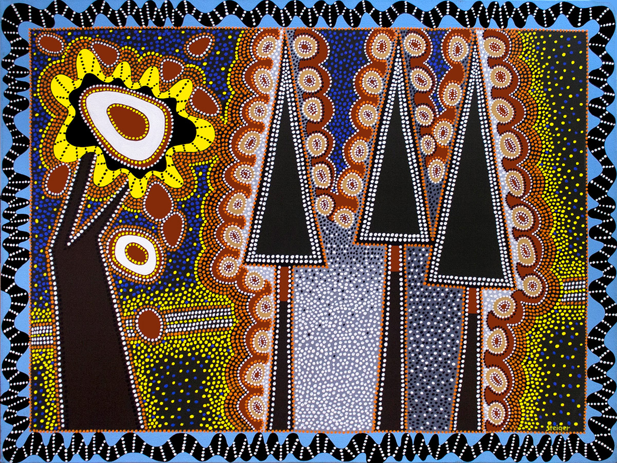 """Chakra Tree and the Forest, acrylic on canvas, 36"""" x 48"""", 2002"""
