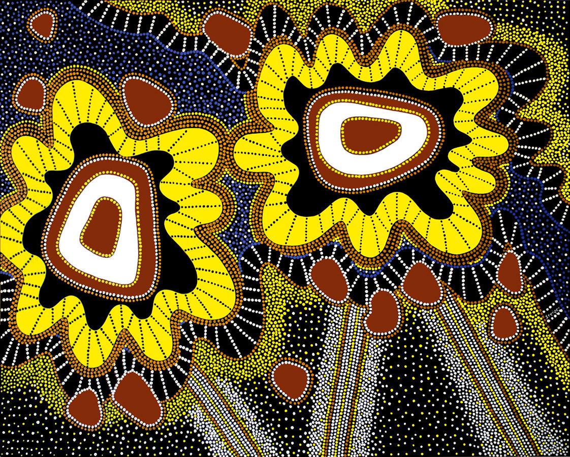 "Two Chakras, acrylic on canvas, 48"" x 60"", 2002"