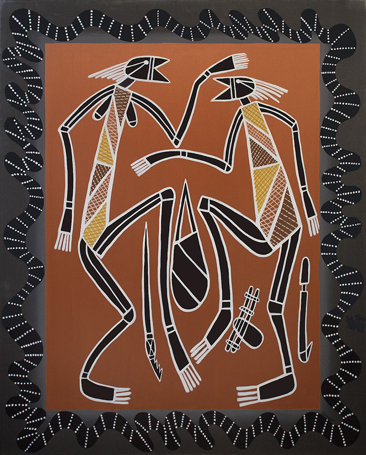 "Man and Woman Hunting, acrylic on canvas, 60"" x 48"", 1999"