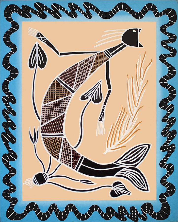 "Mermaid Yelling, acrylic on canvas, 60"" x 48"", 1999"