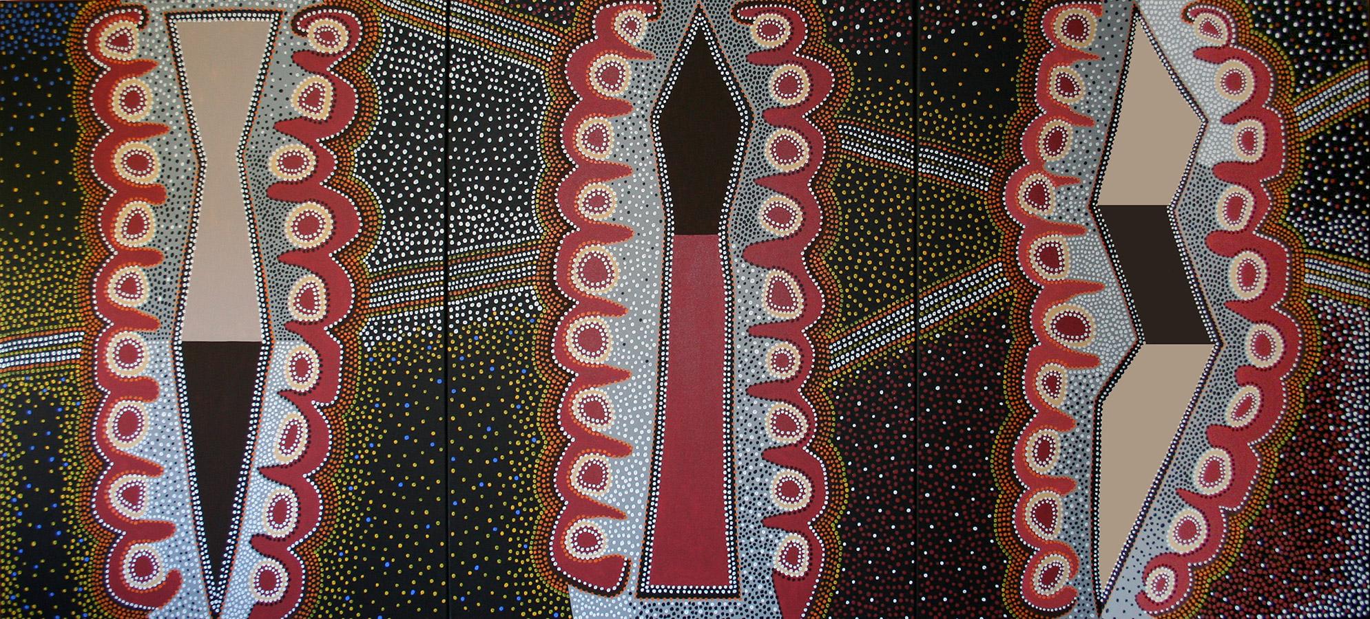 "Three Totems, acrylic on canvas, 48"" x 108"", 2000"