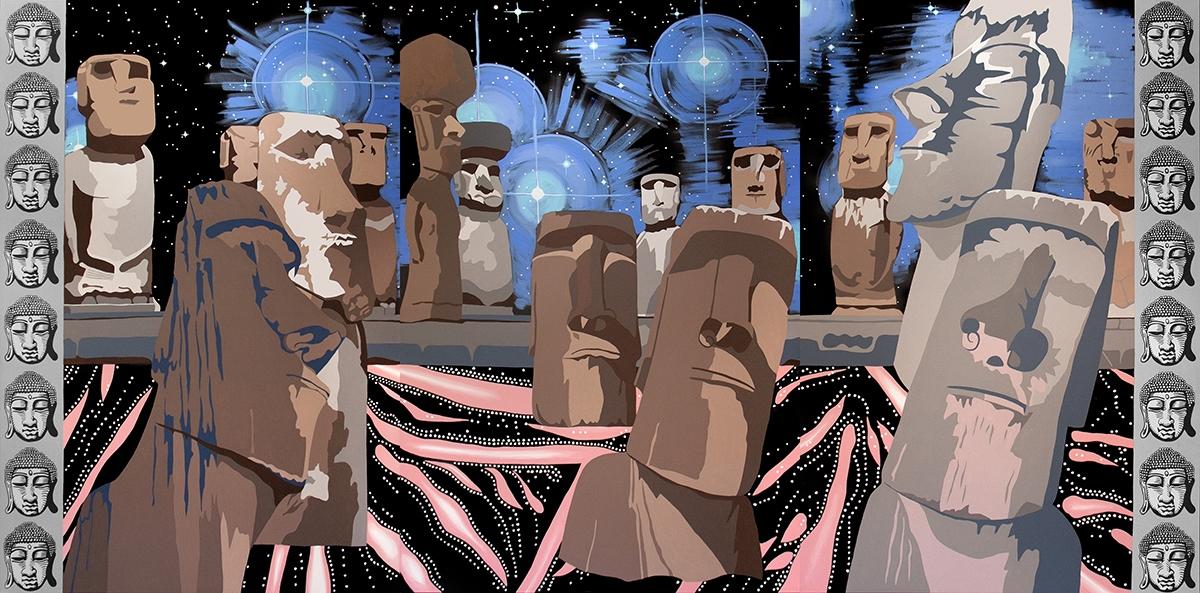 "The Prophet, acrylic on canvas, 72"" x 144"", 2014"