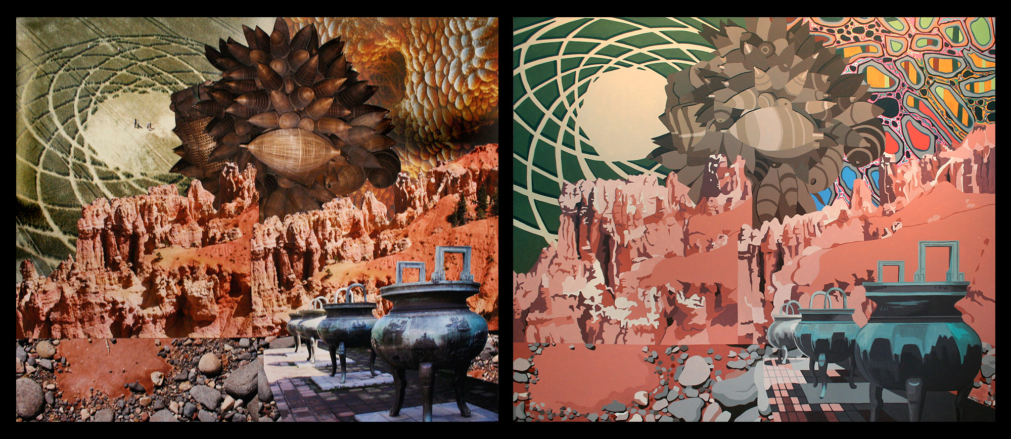 Collision, collage on paper (left) and acrylic on canvas (right)