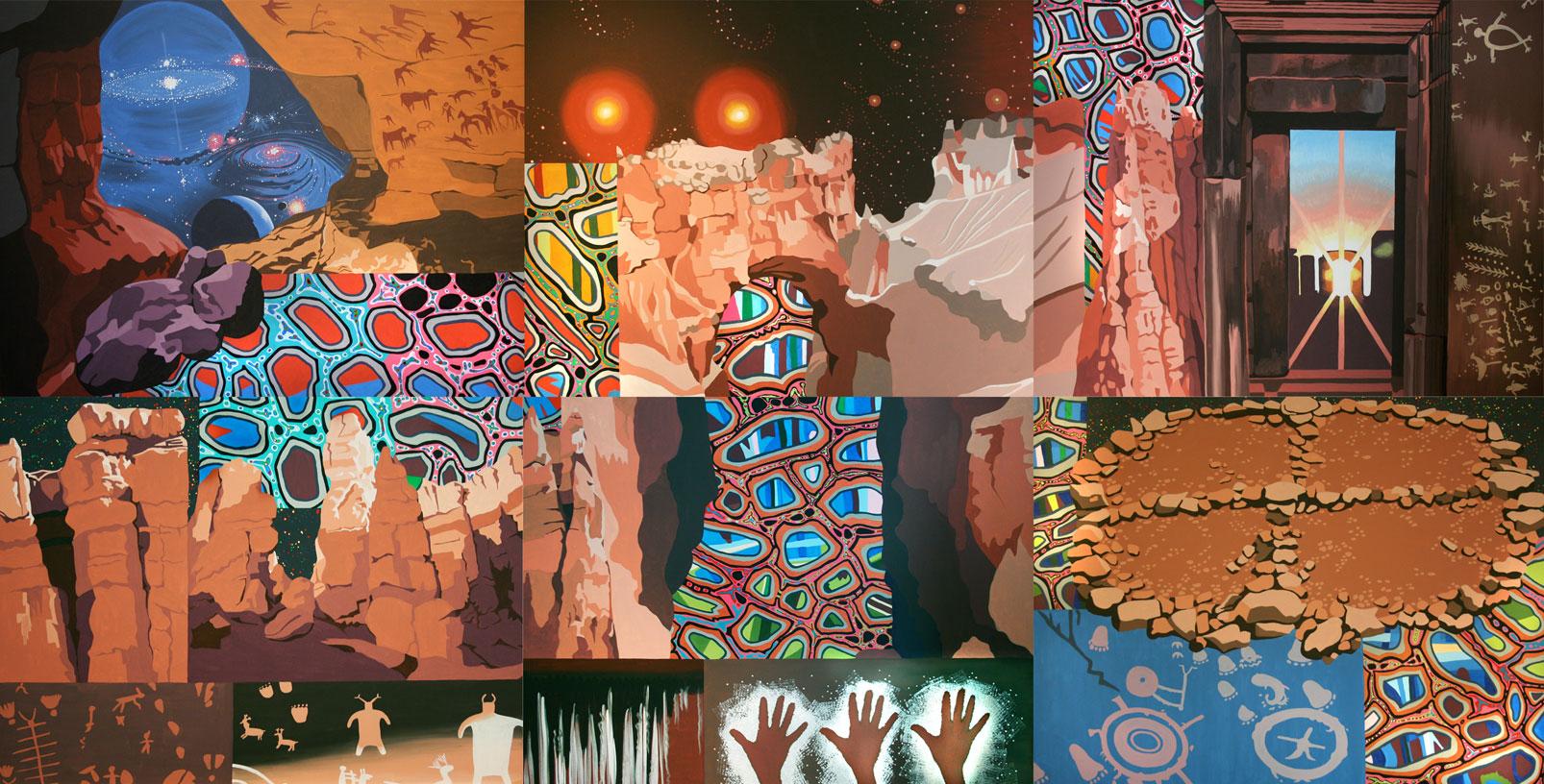 Ancestral Journeys, acrylic on canvas, 72″ x 144″, 2010