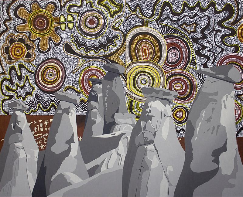 "Rock Tribe, acrylic on canvas, 60"" x 72"", 2013"
