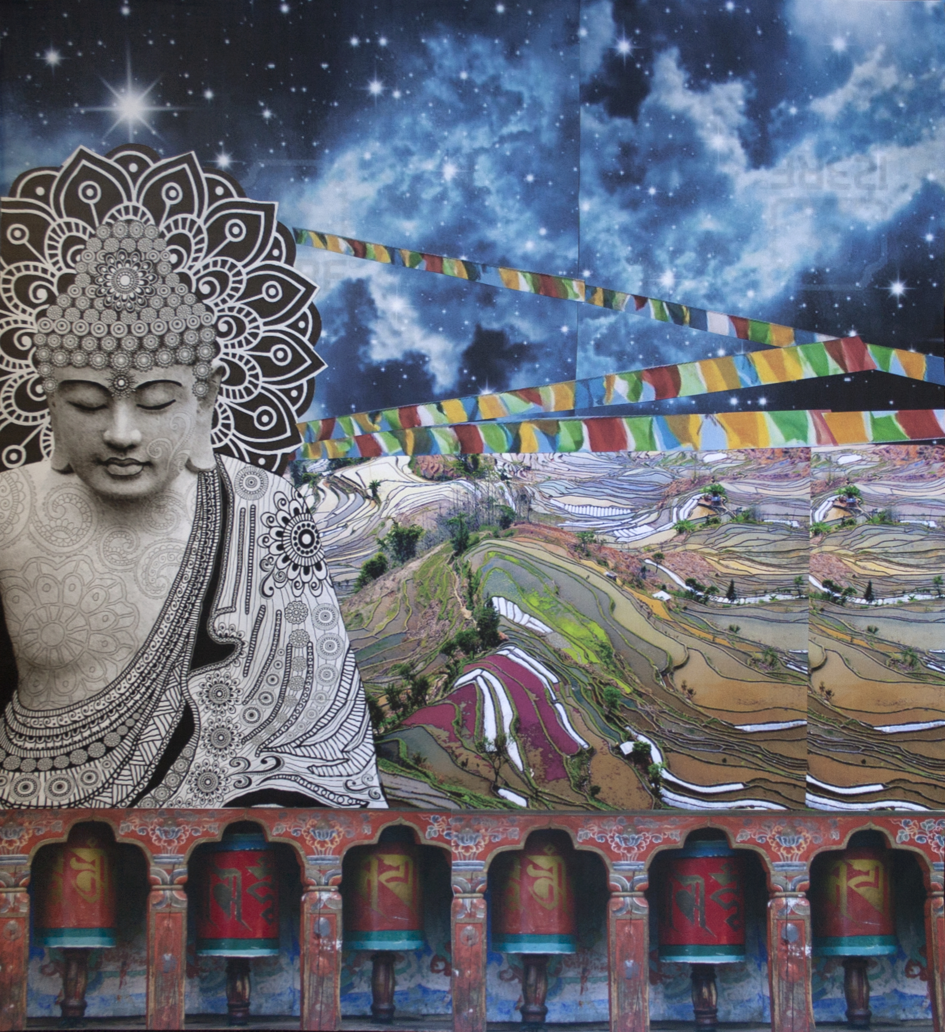 "Buddha Amongst the Rice Paddies, collage on paper, 18.5"" x 16.5"", 2014"