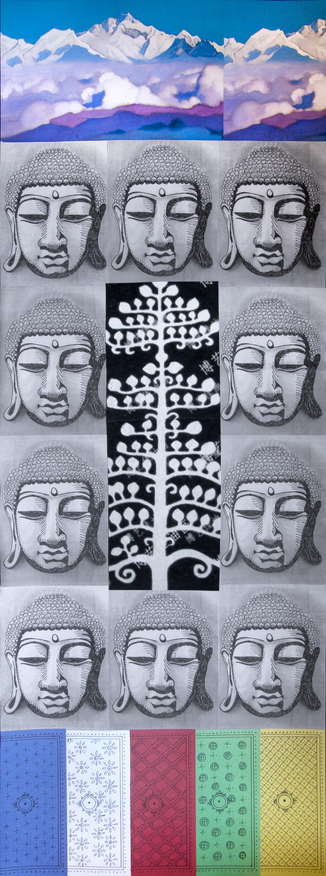 "Himalayan Jewel Tree, collage on paper, 41"" x 15"", 2014"