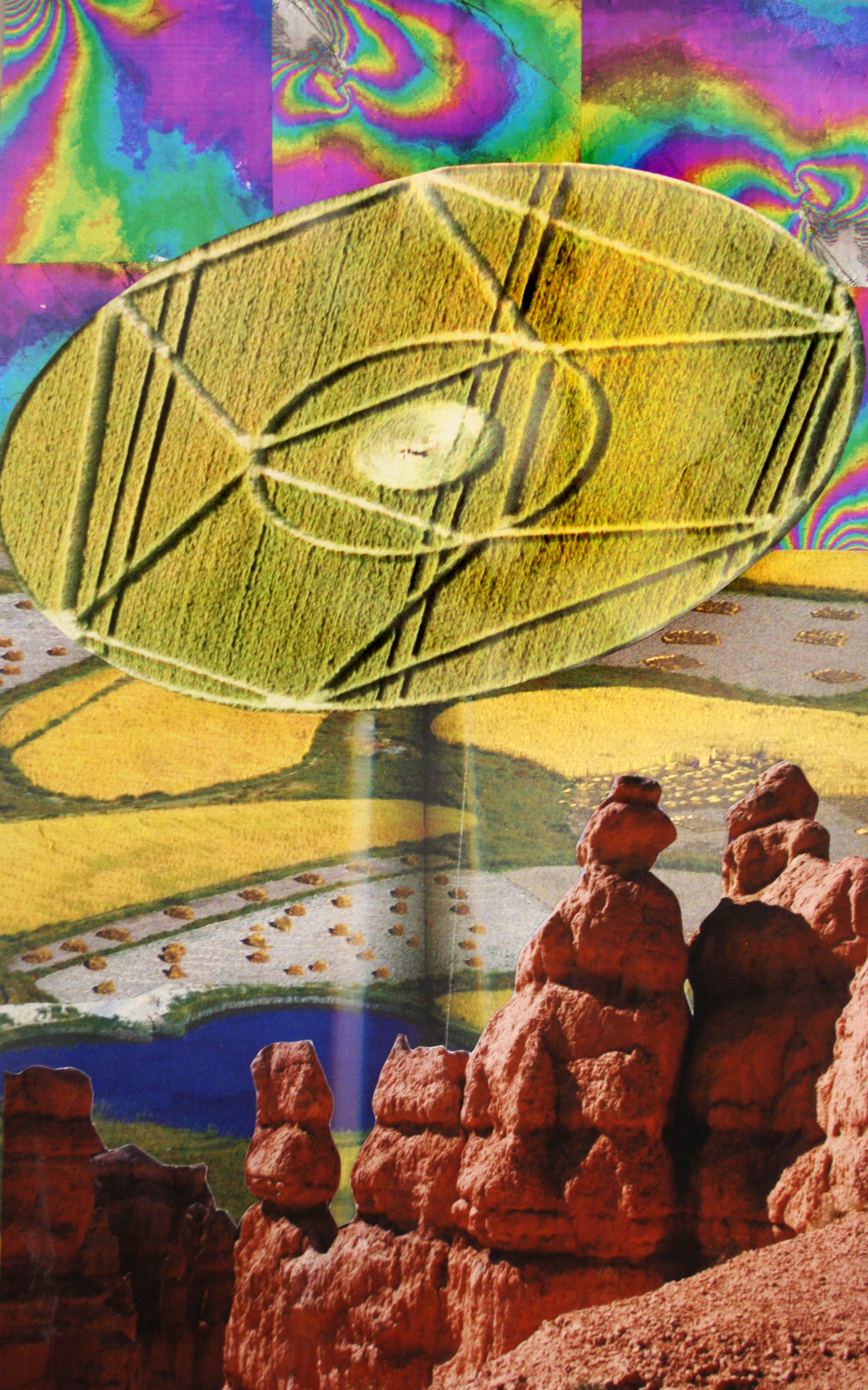 "Circling the Hoodoos, collage on paper, 18"" x 11.5"", 2009"