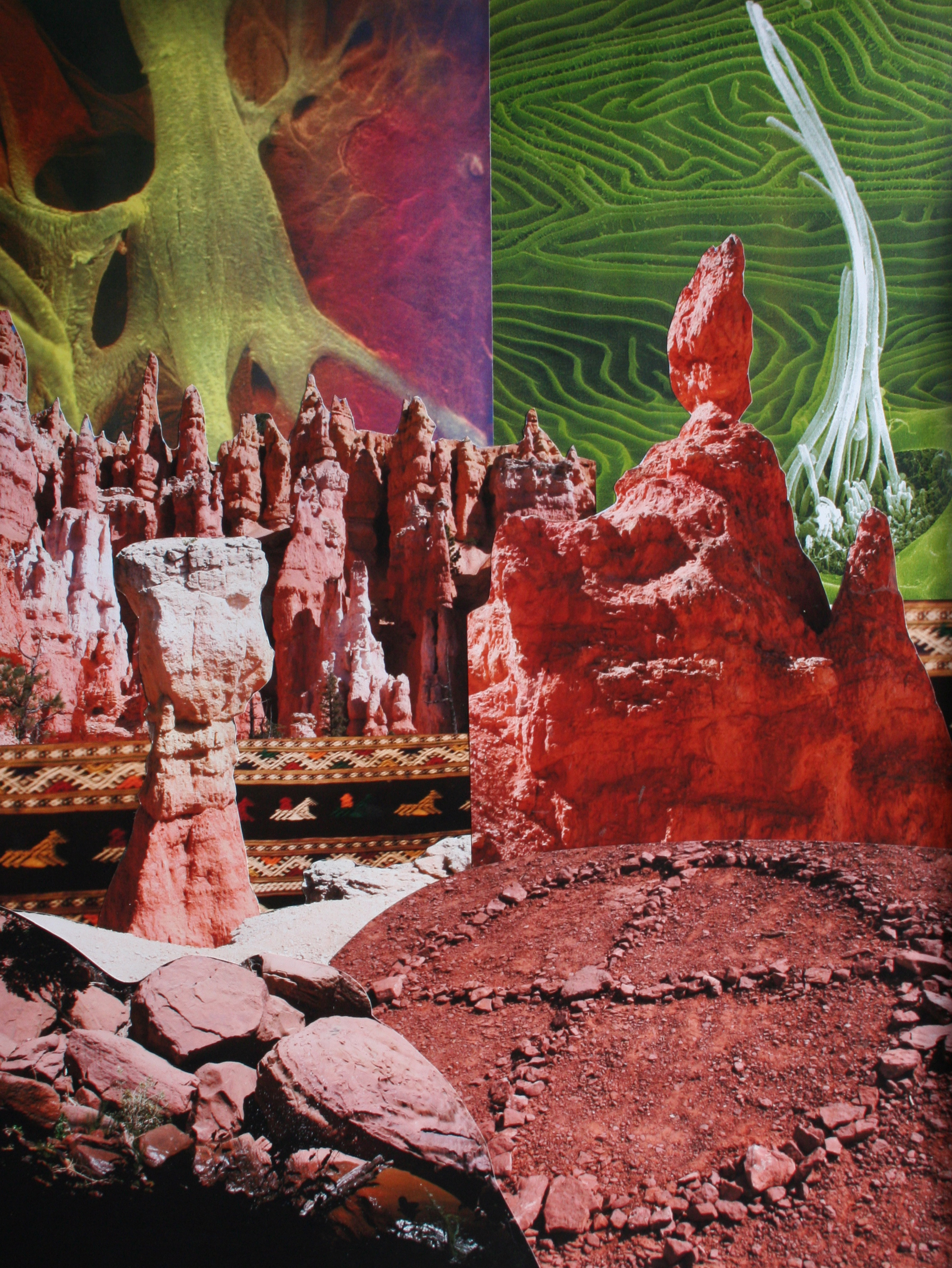 In the Valley of the Rock Gods, collage on paper, 22'' x 17'', 2009
