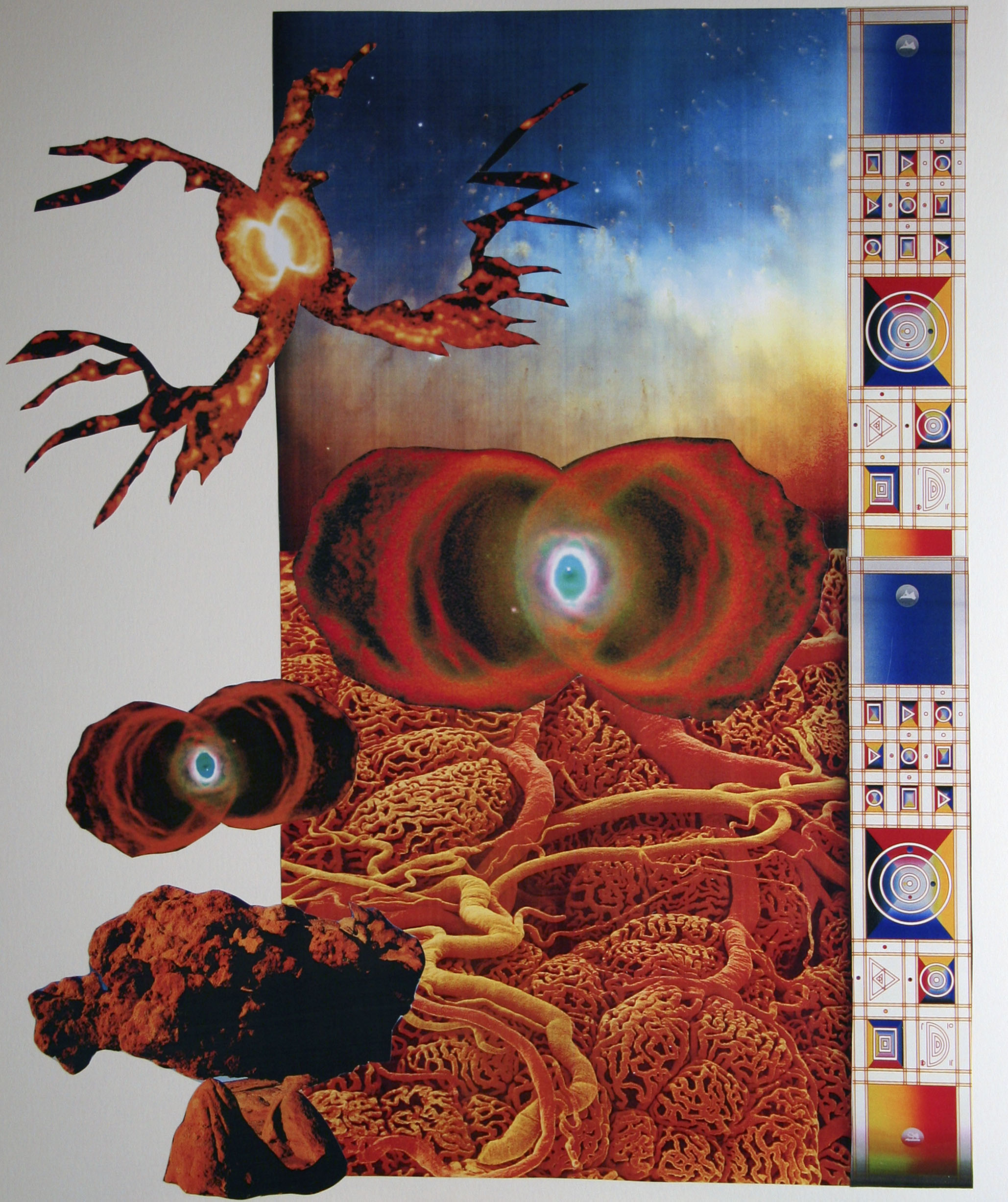 "Invasion of the Nebula, collage on paper, 14"" x 17"", 2006"