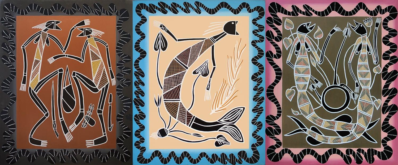"""Primitive Trilogy, acrylic on canvas, 60"""" x 144"""", 1999"""