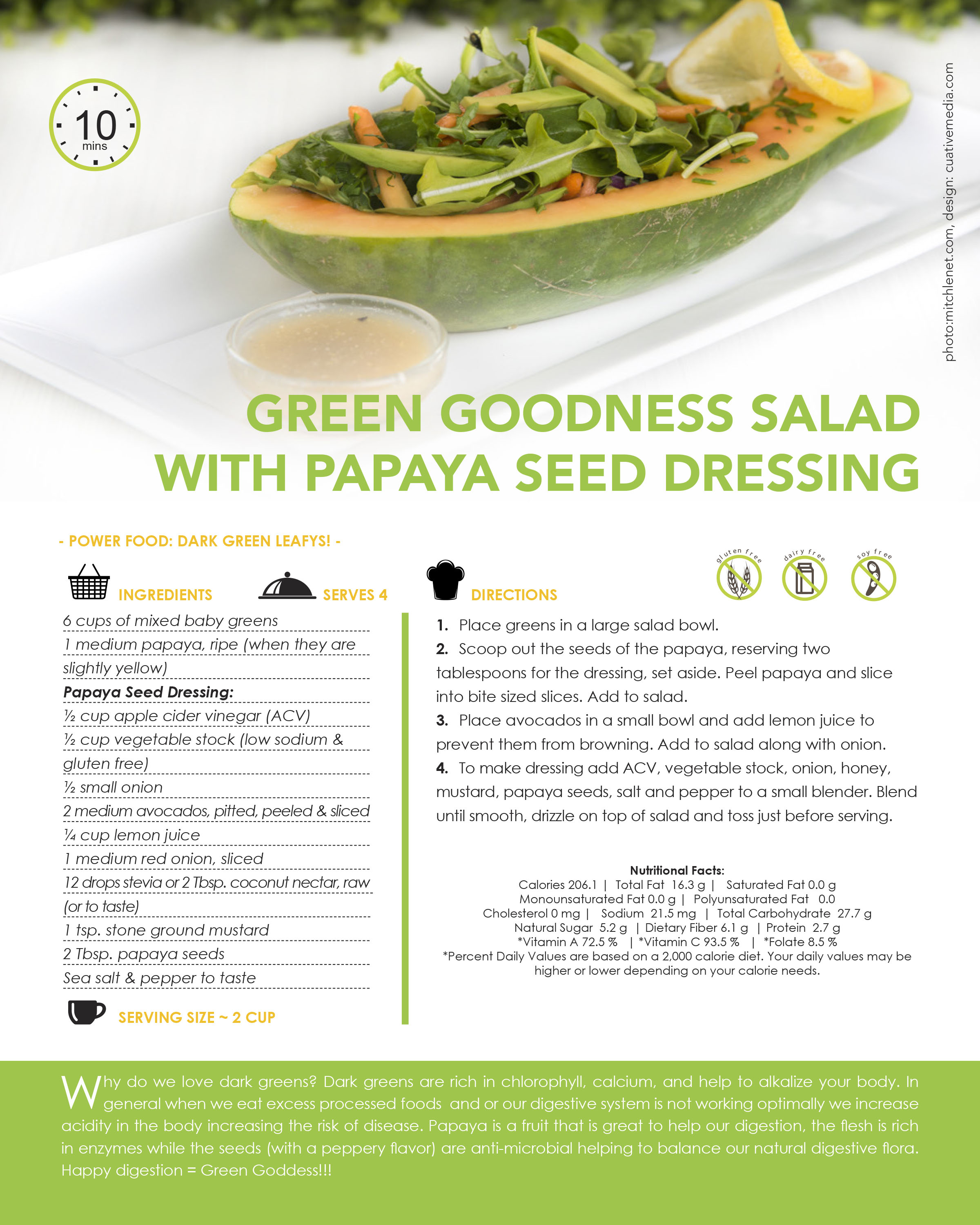 GREEN GOODNESS SALAD WITH PAPAYA SEED DRESSING