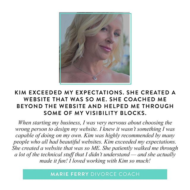 I love my clients! ❤️⁣ ⁣ @marie.ferry is a divorce coach who helps divorced women go from fear and uncertainty to creating a new and exciting dream life. She's also an all around inspiring, ambitious and badass entrepreneur 😍⁣ ⁣ Marie and I worked together on creating an authentic brand that reflected her personality, a streamlined website that attracts her dream clients, and we worked through limiting beliefs and fears around getting visible that were holding her back. She now confidently shows up online and I couldn't be more proud!⁣ ⁣ What I do is so much more than just pretty fonts, colour palettes or moodboards.⁣ ⁣ I work with my clients to get clear on their messaging, align their branding with their mission, and uncover the limiting beliefs that are keeping them from getting visible.⁣ ⁣ Is your branding a hot mess? Do you have DIY website shame? Let's chat. I only have 2 spots available in October for my Brand Strategy & Web Design package.⁣ ⁣ P.S. The investment goes up by $300+ on Friday so if you need support in taking your business to the next level and want to make the rest of 2019 your best year yet... Hit me up 😘
