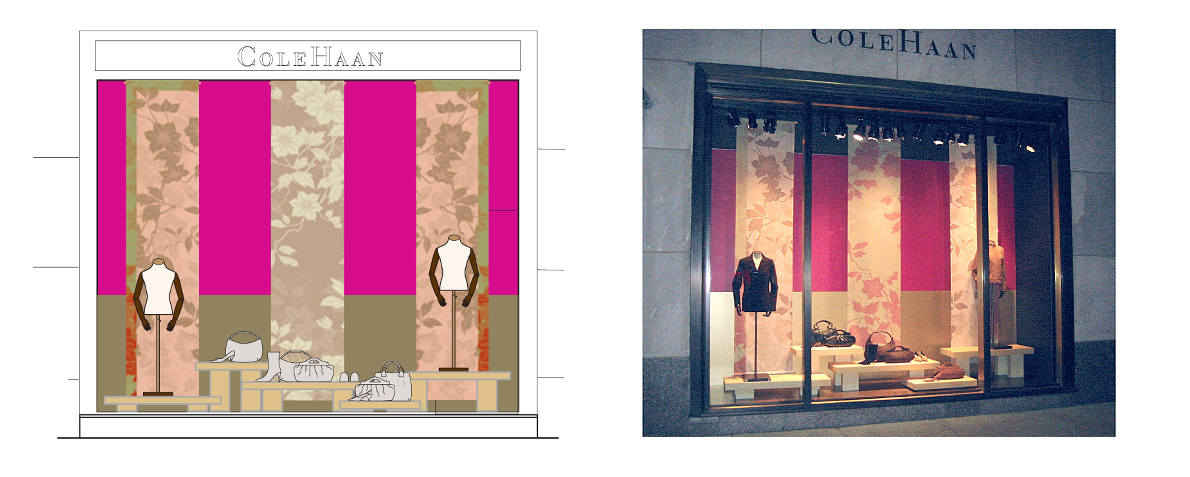 Designed Cole Haan window display. Speced out work with contractor to build display tables and fabric wall hangings.