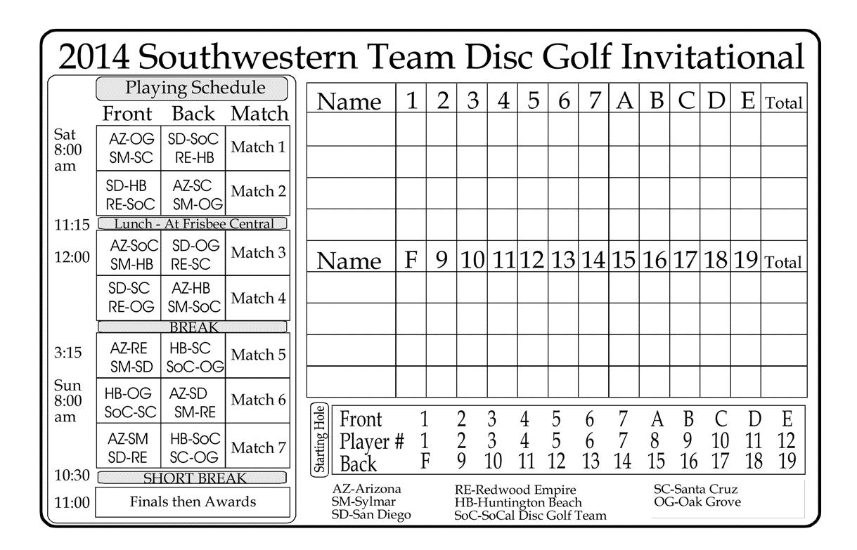 2014 Southwestern Team Disc Golf Invitational - Scorecard