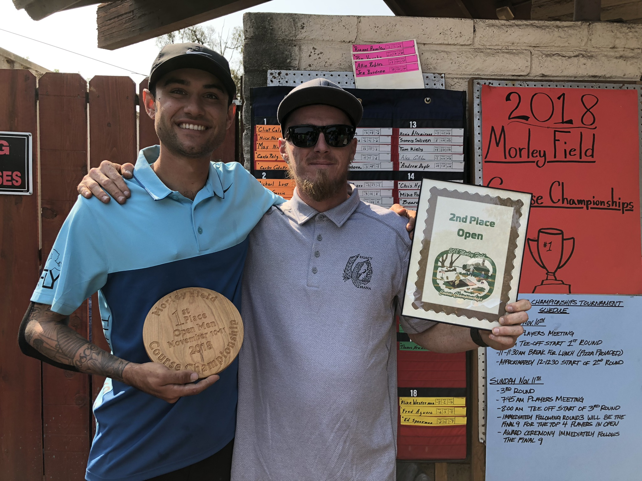 Clint Calvin (Course Champion) and Nick Newton (2nd Place Open)