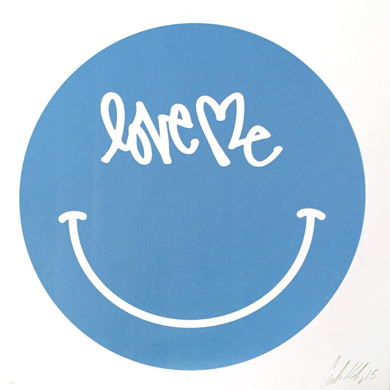 "LOVE ME SMILEY - Silkscreen on Lettra paper in Ocean - 12"" x 12"" SOLD OUT"