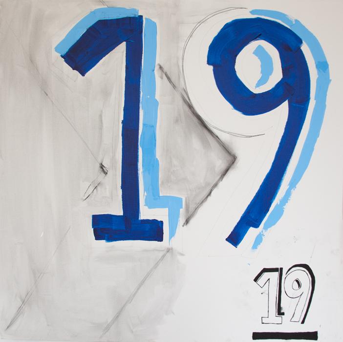 One Nine Teen, 2014  acrylic on canvas  48 x 48 inches
