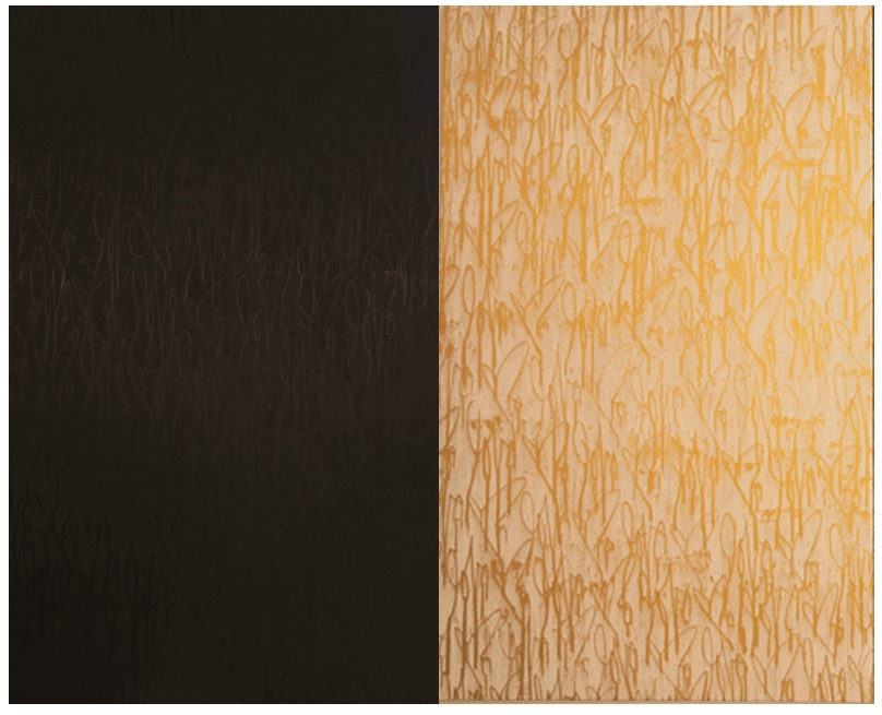 Love Me Black and Gold, 2014  acrylic on canvas  120 x 96 inches