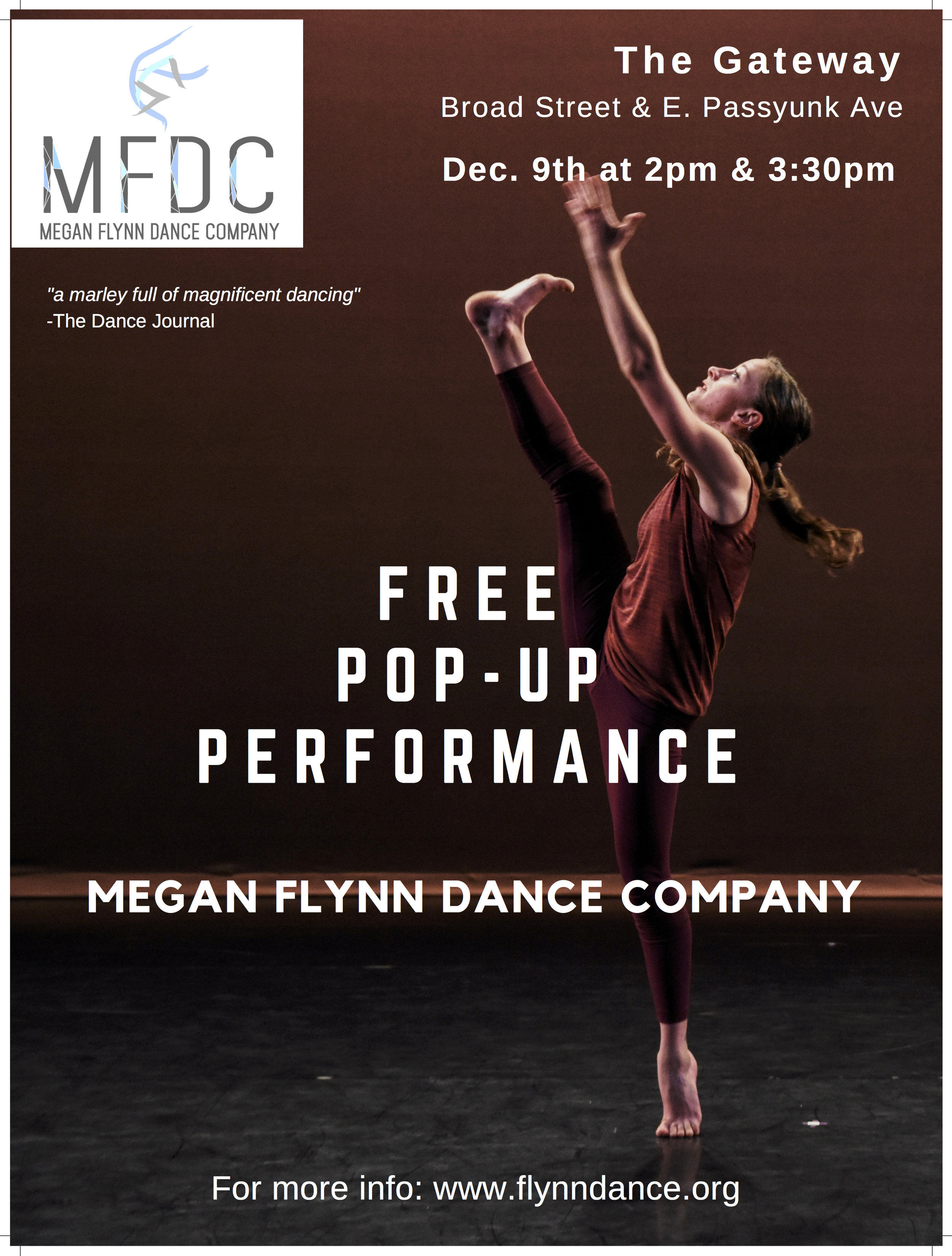 "Megan Flynn Dance Company will perform excerpts of company repertory from the 2016-2017 season with ""A Piece of This Place: A Pop-Up Performance"" during the Second Saturday festivities on East Passyunk Avenue. The company will perform ""We're all a little bit stubborn"" featuring original music composed by Alan Terricciano, which premiered at the Conwell Dance Theater during the 2016 Philadelphia Fringe Festival. The pop-up also marks the Philadelphia premiere of ""All dreams collapsed in one second"", a duet selected for performance at the Actors Fund Arts Center in New York City this year."