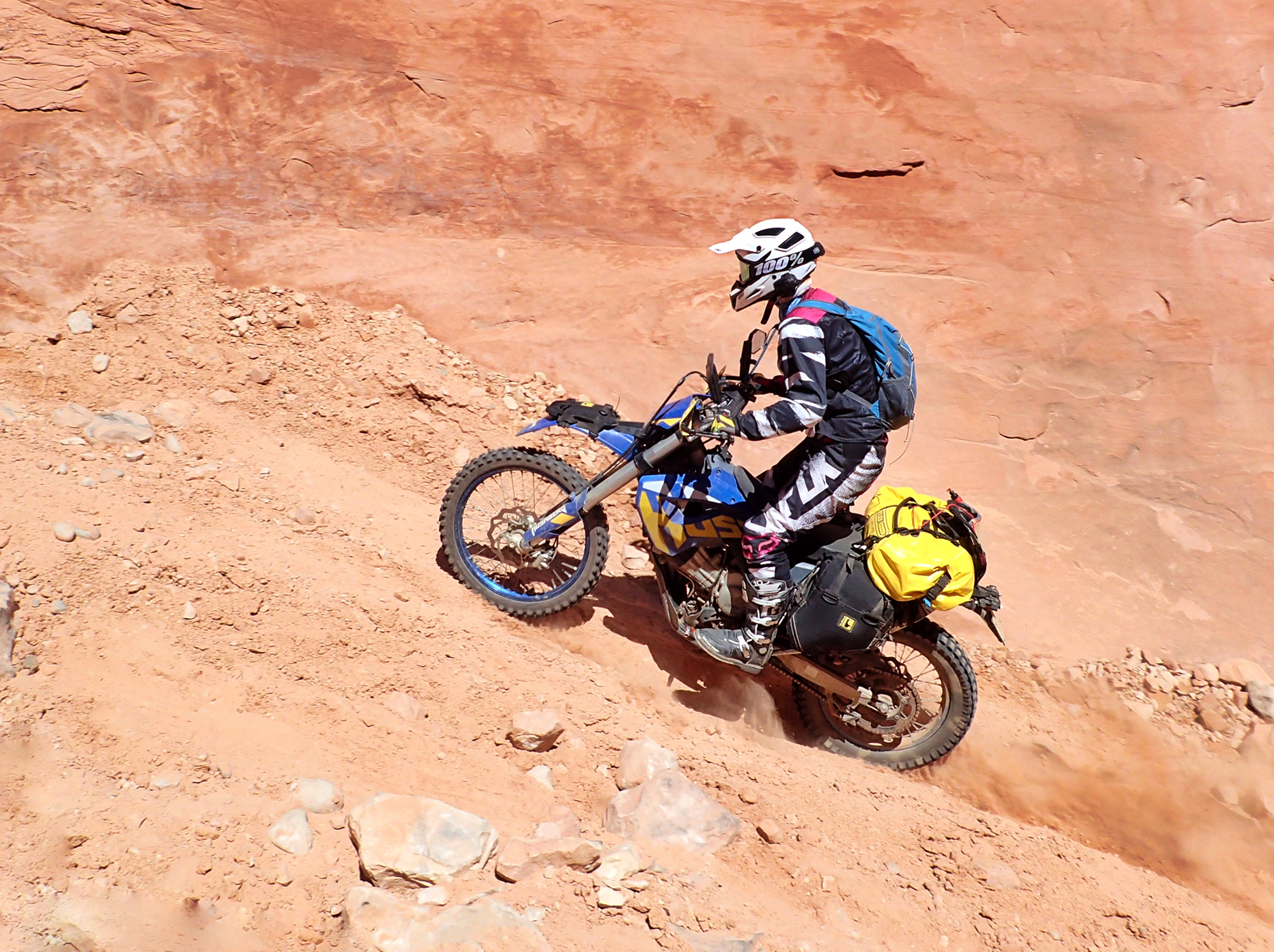 Scrambling up Jughandle Trail outside Moab, Utah on our way to ride the White Rim Trail.
