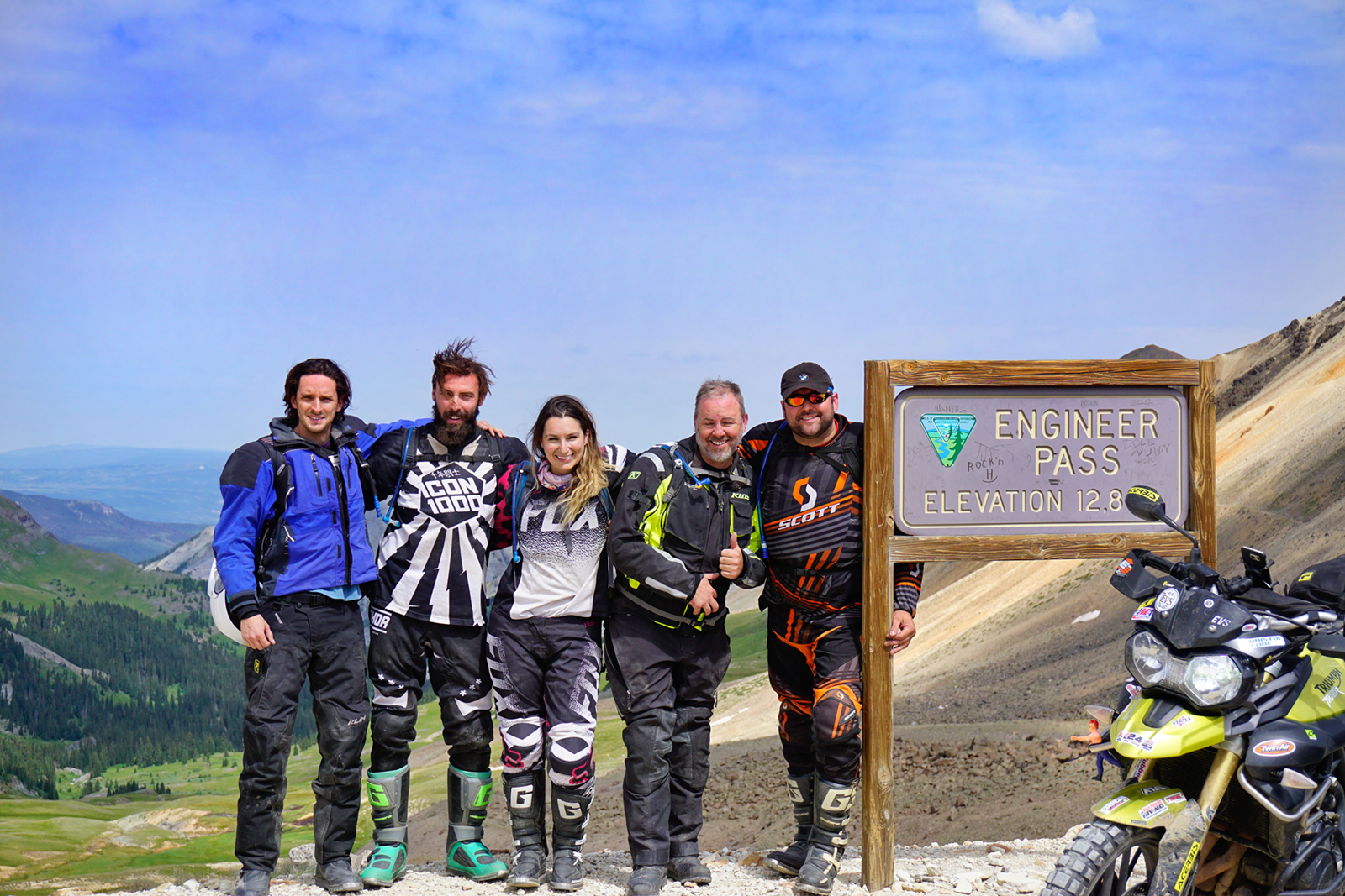 (Right to Left)Carlos Barrios, Steve Kamrad, Amelia Kamrad, Ron Willie and Marcin Suchodolski shown at Engineer Pass, Colorado. Day 3 of our 6.5 day trip.