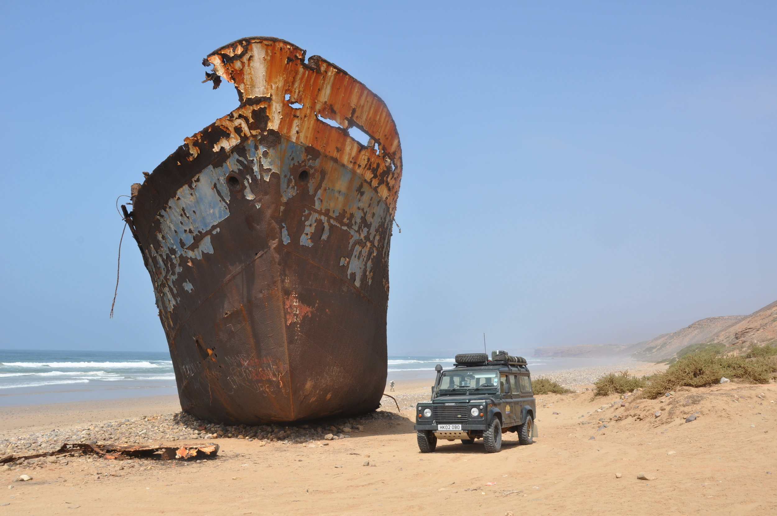 On the Atlantic coast of Morocco during a 4000 mile trek