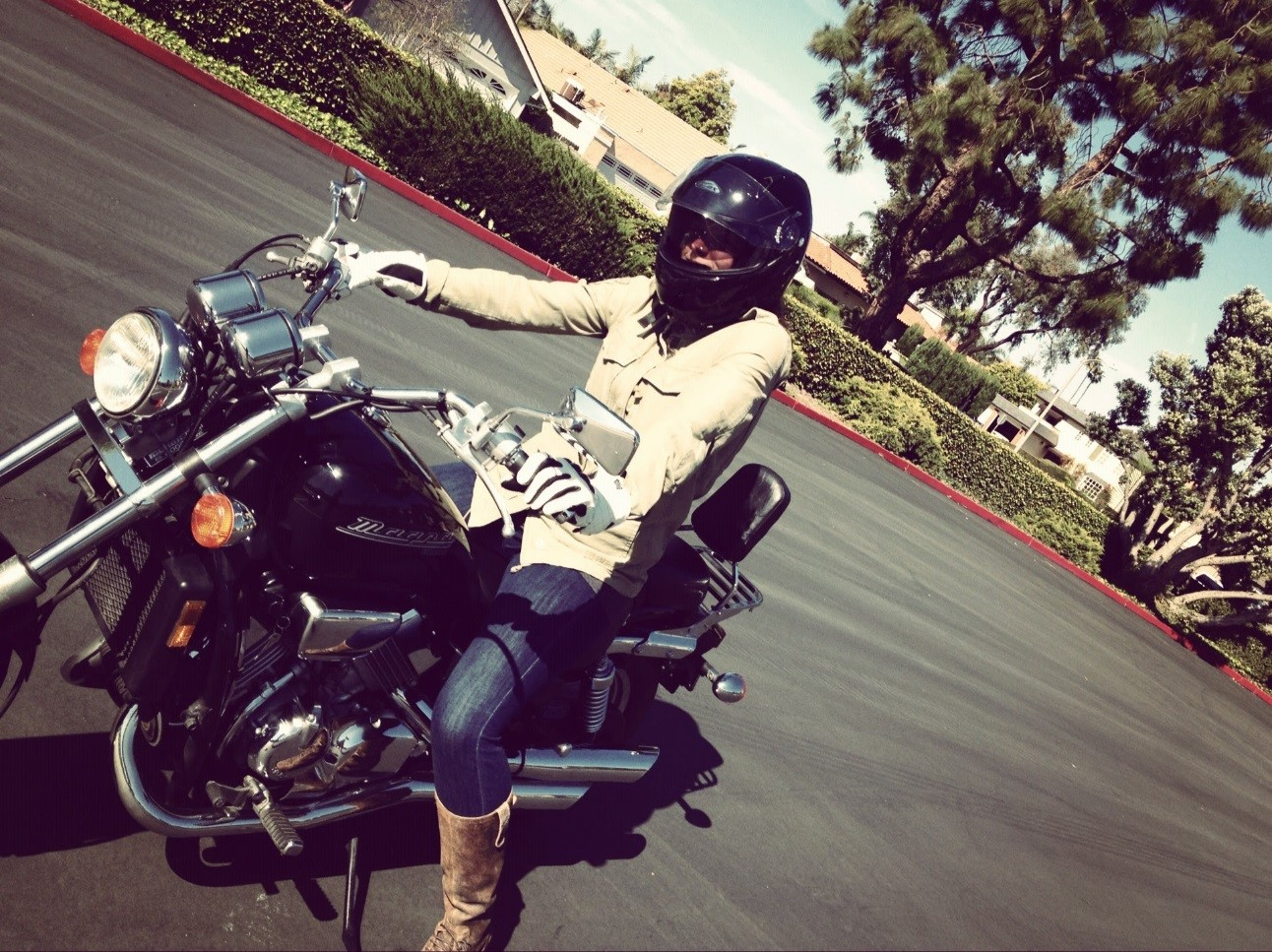 My First time learning how to ride on a 2002 Honda Magna.