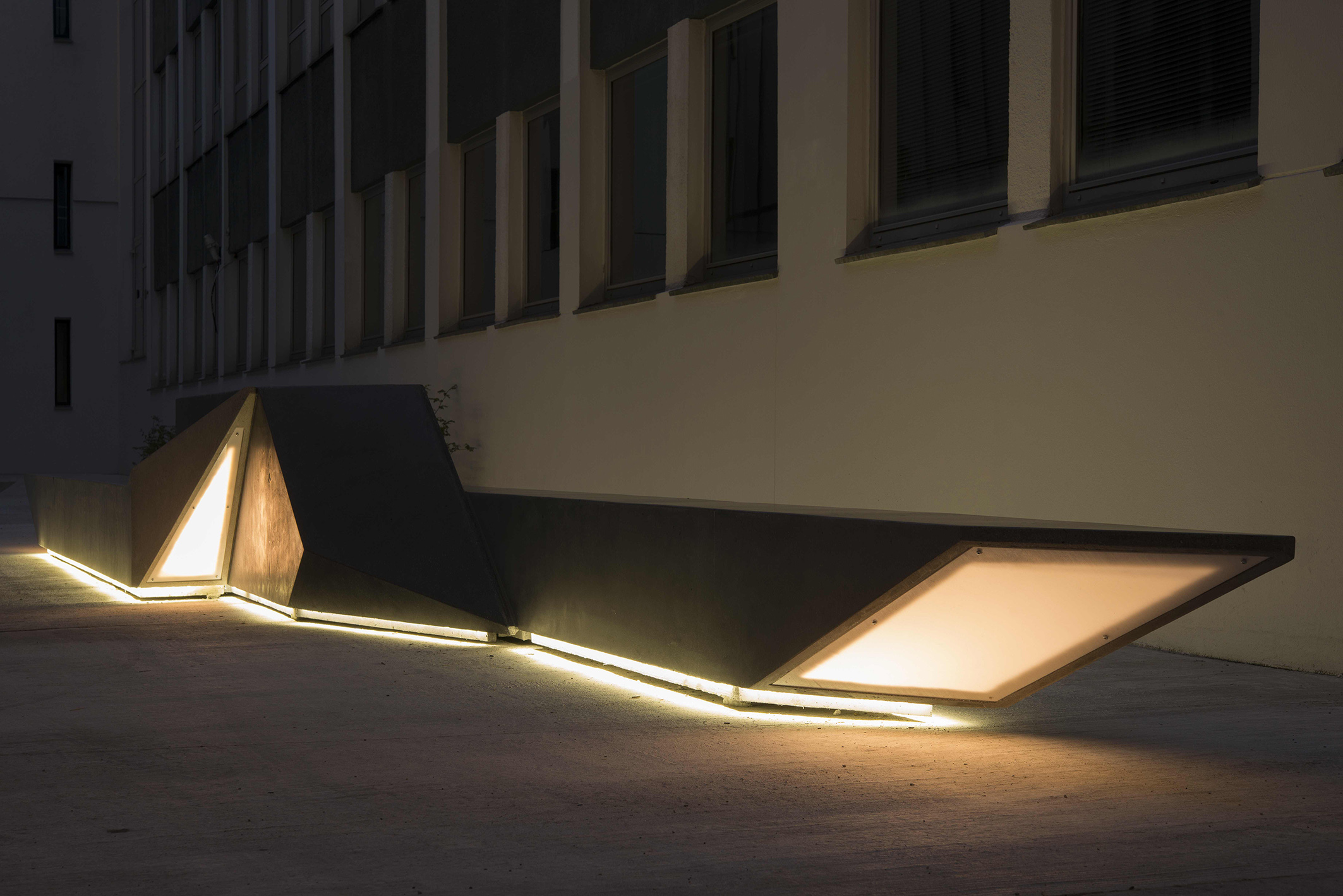 Unfolded Shape Drifter  Concrete sculpture with lights