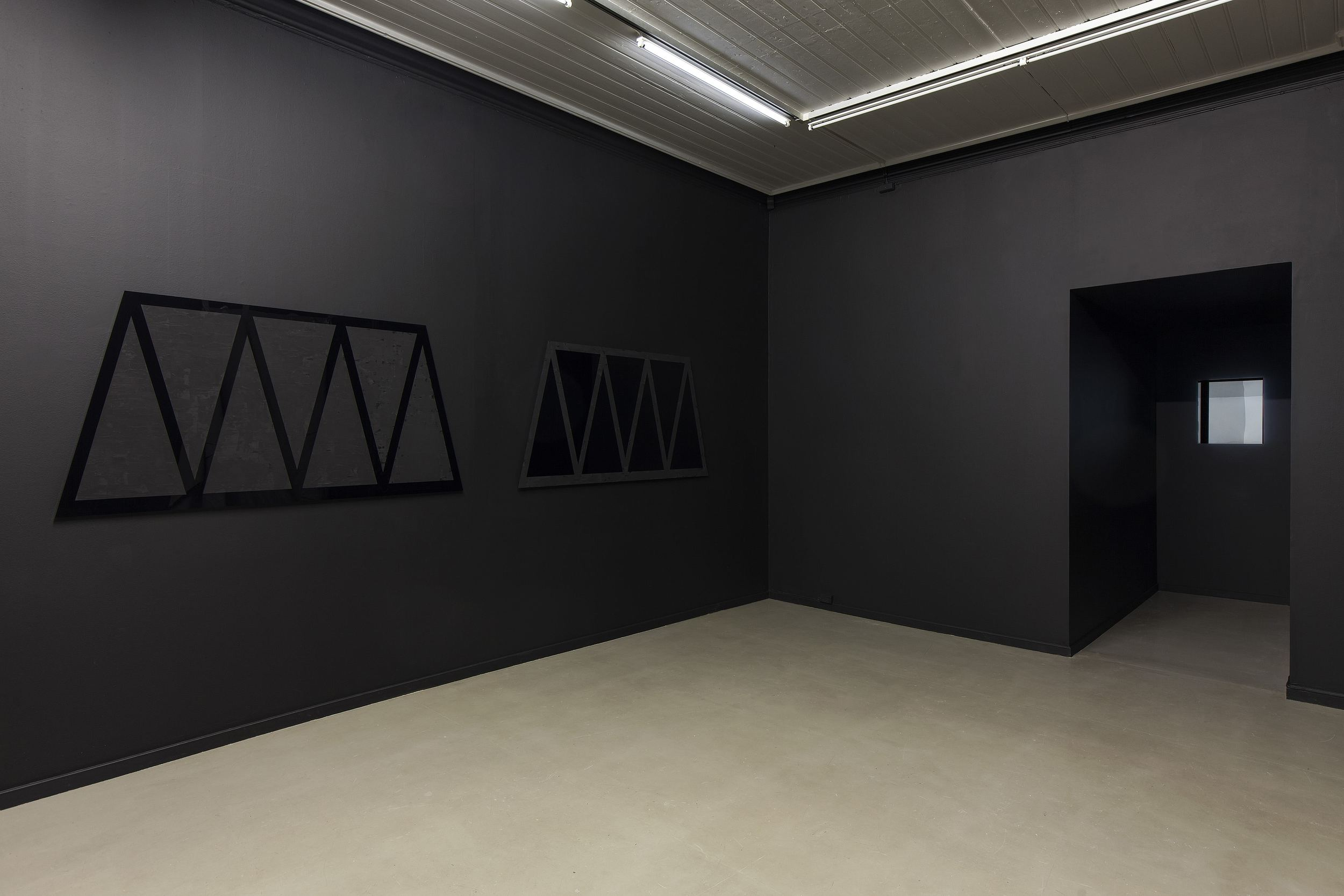 Left: Untitled ( window to Bobby Fischer ) part 1 and 2 Right: Specular Reflection (black)