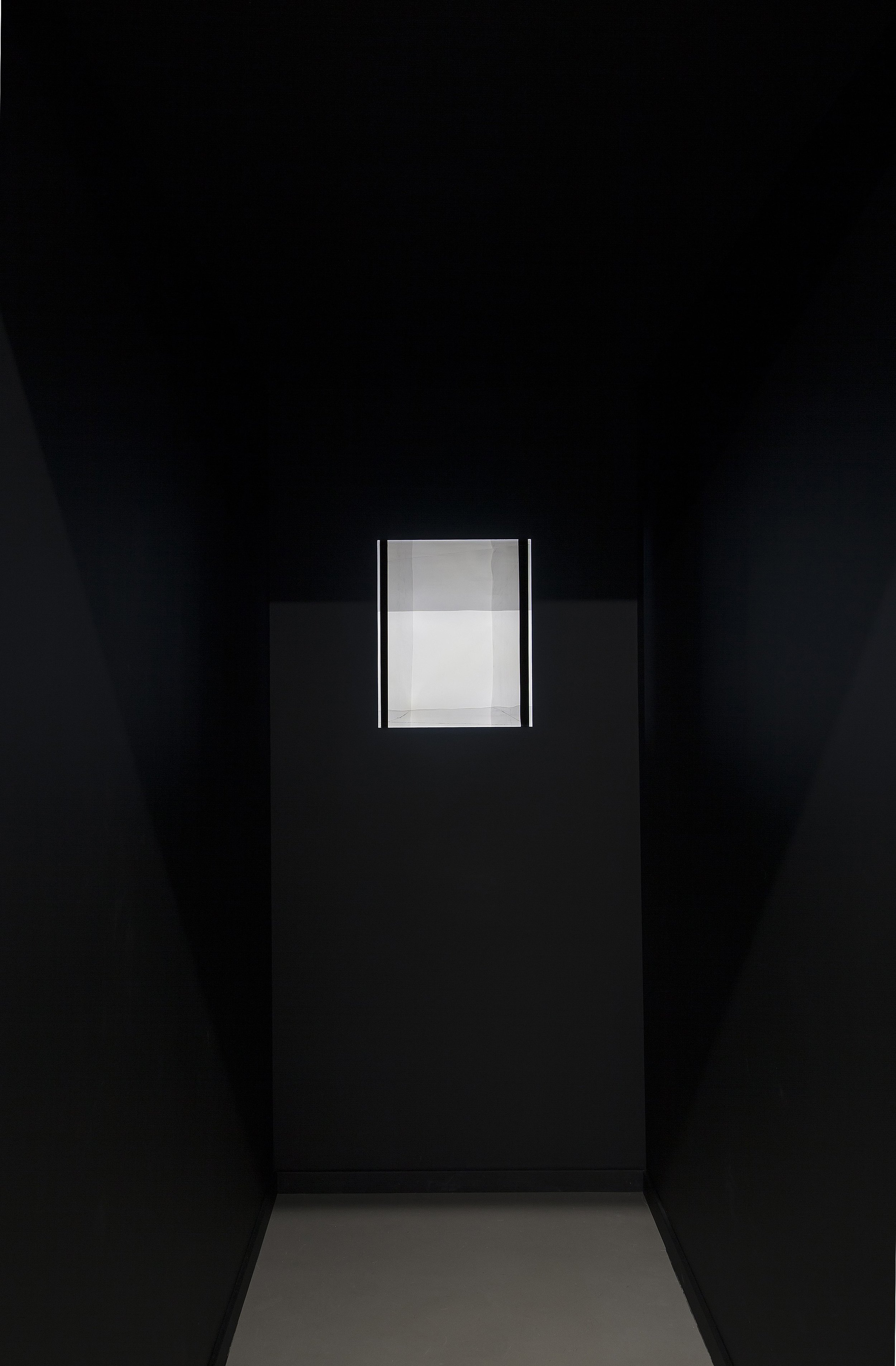 Specular Reflection (black) Site-specific installation with new wall and roof construction, black perspex tunnel construction and led light.