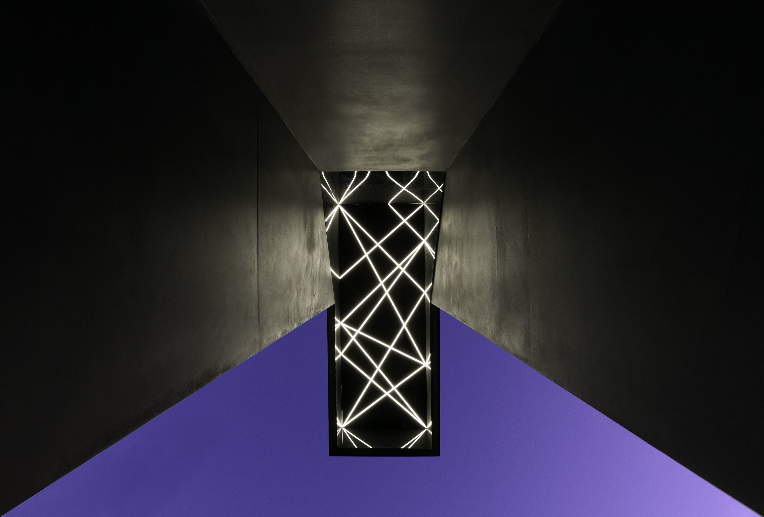 Shape Drifter,  detail of lights and black perspex inside top of the sculpture.