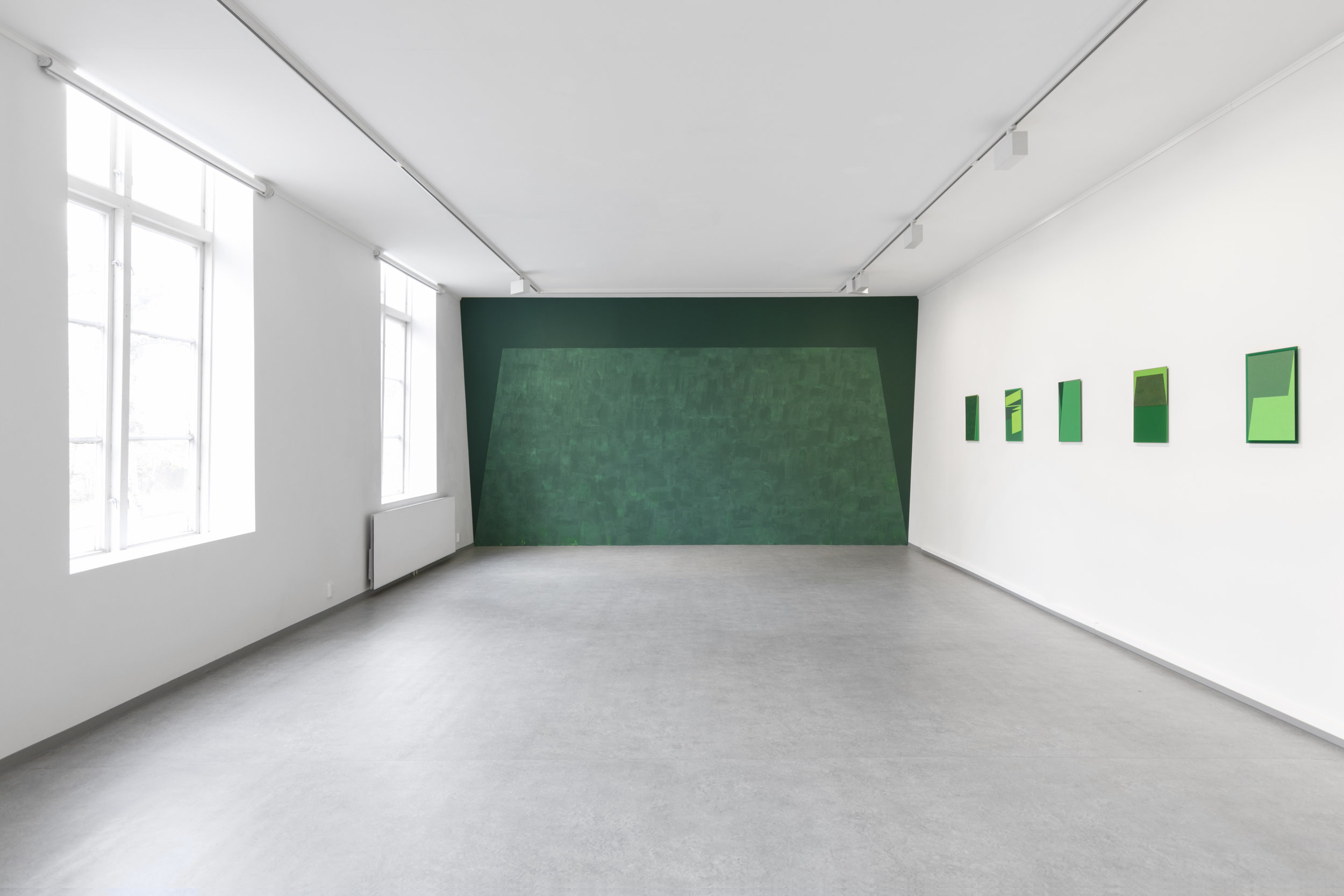 The wallpainting  Tilted Towards  and paintings from  The Green Series