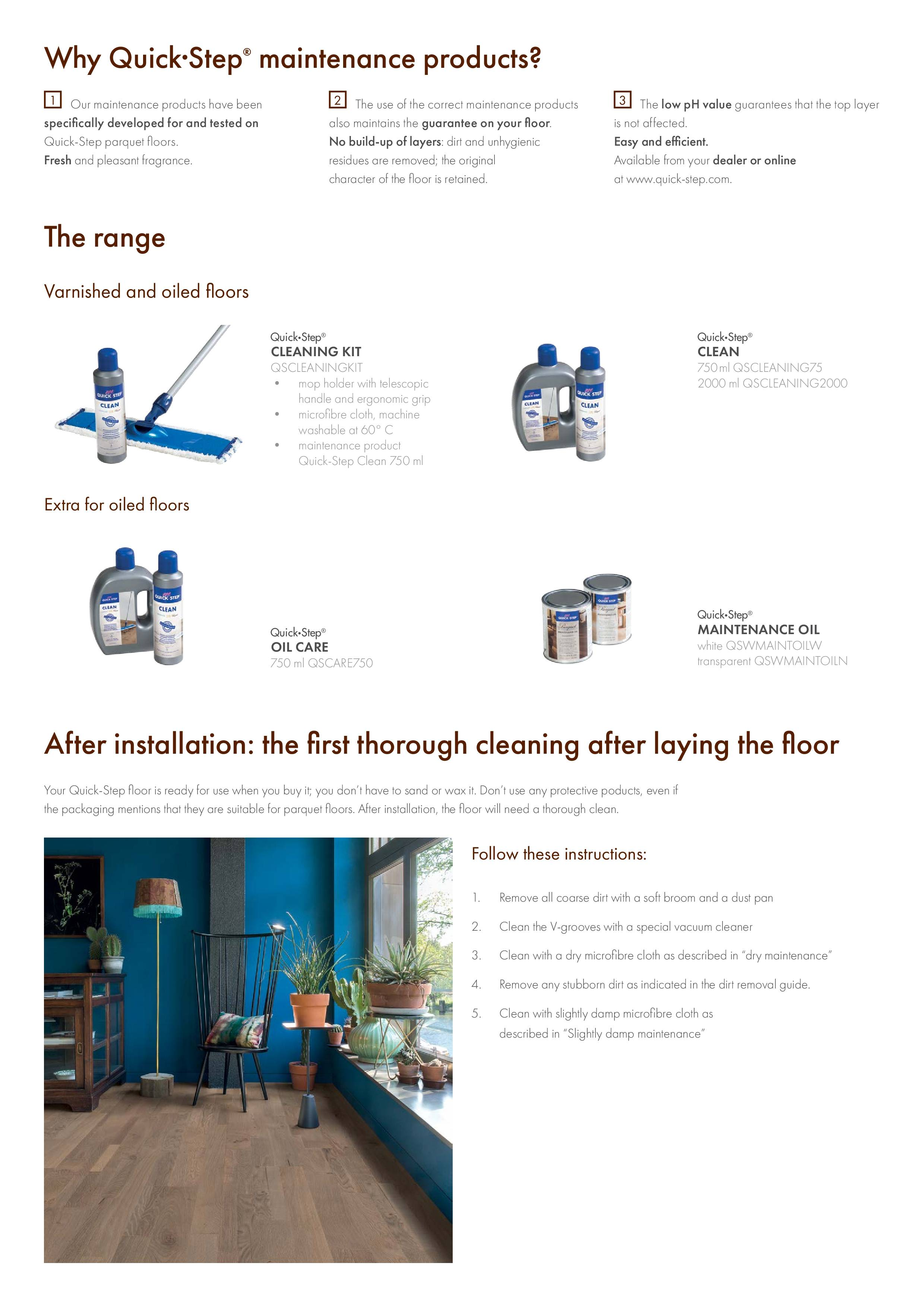 Quick-Step  WOOD FLOOR CLEANING GUIDE