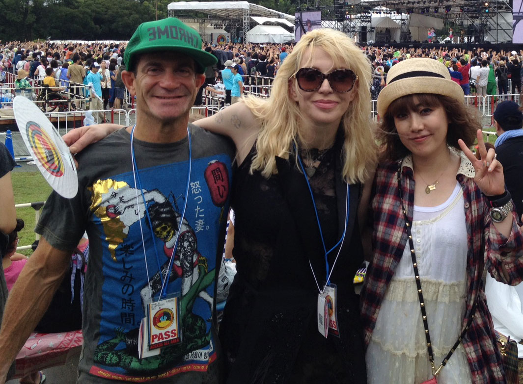 Stu Levy, Courtney Love, and Ami from Puffy AmiYumi at the World Happiness Festival in Tokyo.