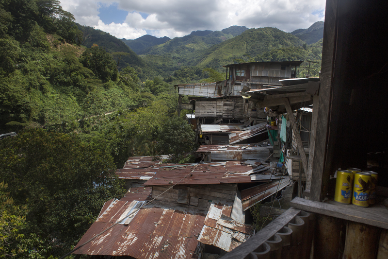 Homes of miners are pictured just outside the Minería Texas Colombia plant in Muzo, Colombia on July 24, 2015.