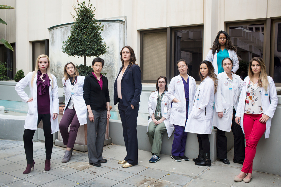 "Dr. Elizabeth Raskin, fourth from left, has taken on a mentorship role to other women surgeons and medical professionals after being subject to harassment herself when she was starting out. ""If we don't ever break the cycle, the people behind you face it as well."""
